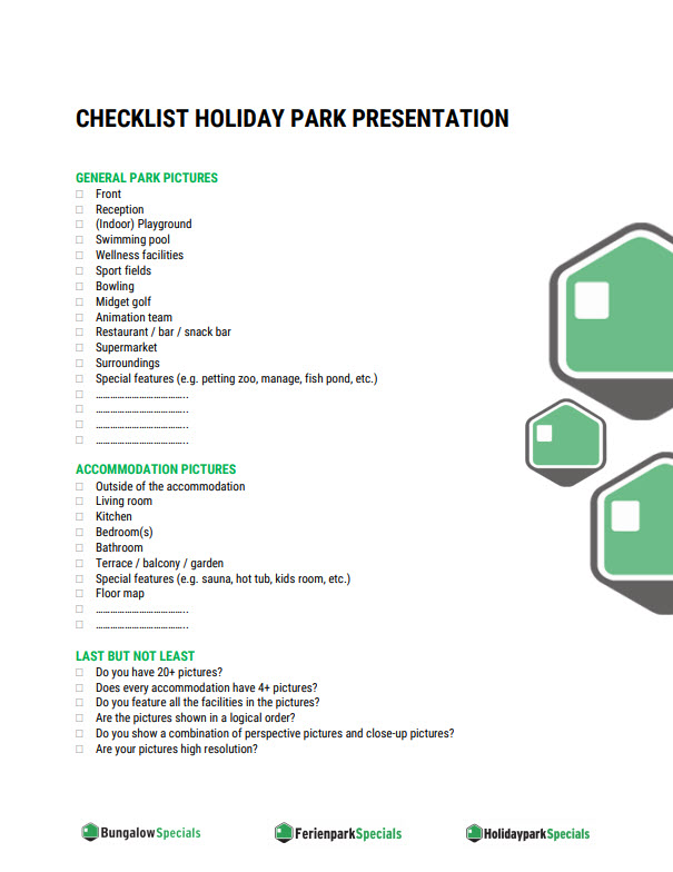 Checklist holiday park presentation